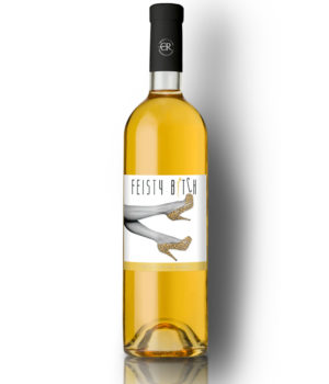 Bottle of Feisty Bitch white wine